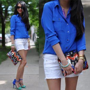 J. Crew Silk Blouse Shirt Blythe Button Down